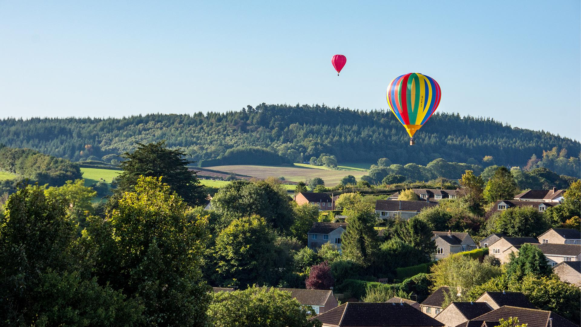 Balloons over St John's Close & Monmouth Hill